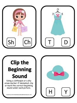 Glamour Girls themed Beginning Sounds Clip it Cards preschool curriculum game.