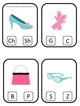 Glamour Girls themed Beginning Sounds Clip it Cards preschool curriculum game.