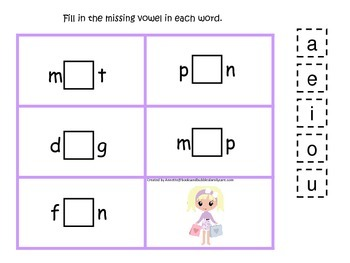 Glamour Girls themed CVC #3 preschool homeschool vowel act