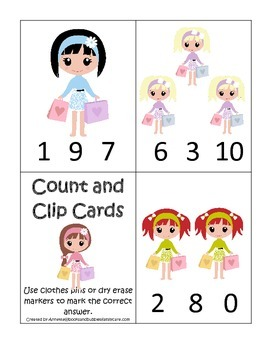 Glamour Girls themed Count and Clip Cards child math curriculum.