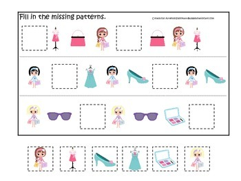 Glamour Girls themed Fill in the Missing Pattern preschool printable game.