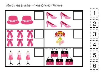 Glamour Girls themed Match the Number preschool educational game.