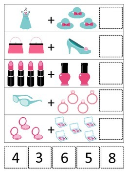 Glamour Girls themed Math Addition printable game.  Preschool math activity.