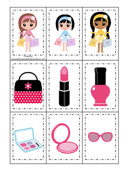 Glamour Girls themed Memory Matching preschool curriculum game. Daycare