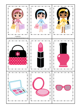 Glamour Girls themed Memory Matching preschool curriculum