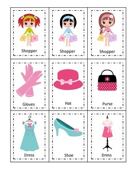Glamour Girls themed Three Part Matching preschool printable activity.