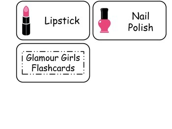 Glamour Girls themed printable Picture Word Flash Cards. Preschool flashcards.