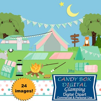 Glamping Camping Clip Art - Commercial Use OK