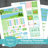 Glamping, Camping Erin Condren Monthly Planner Printable Stickers
