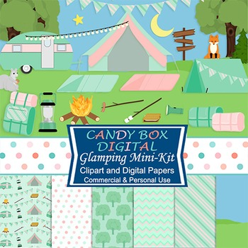 Glamping Camping Mini Kit w/ Clip Art and Digital Papers