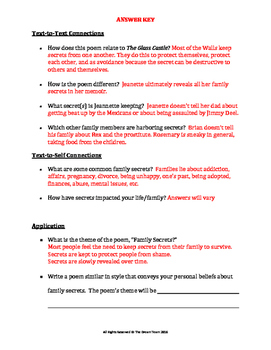 The Glass Castle Lesson - Family Secrets Poem Questions and Project