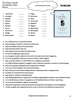 The Glass Castle Lesson - Vocabulary Unit and Quiz