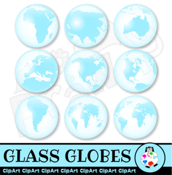 Glass Globes - Word Geography Clip Art