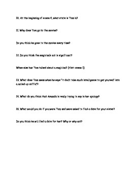 Glass Menagerie Questions for Scenes 3 and 4