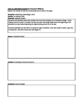 Glass Menagerie- key vocab and symbolism worksheet