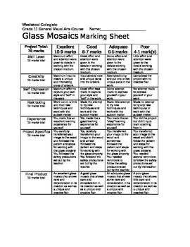 Glass Mosaics Marking Sheet