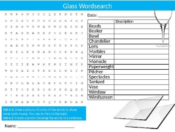 Glass Wordsearch Sheet Materials Starter Activity Keywords Homework