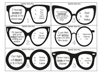 Glasses Building Vocabulary