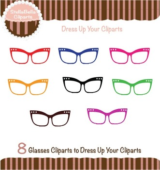 Glasses Clipart - Flared with stars