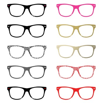 Glasses Clipart, Nerd Glasses, Commercial Use Graphics