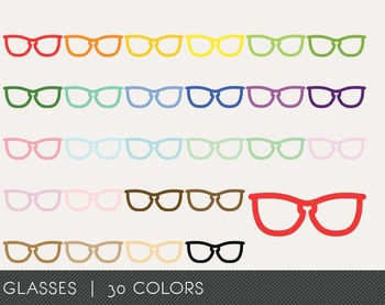 Glasses Digital Clipart, Glasses Graphics, Glasses PNG, Rainbow Glasses