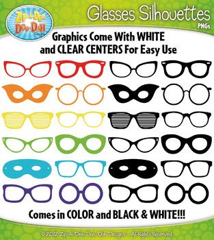 Glasses Silhouettes Clipart {Zip-A-Dee-Doo-Dah Designs}