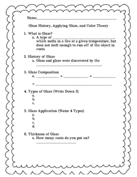 Glaze Unit Worksheet (Goes With PowerPoint)