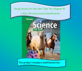 Glenco Science Green Level 2008 Chapter 8 Life's Structure