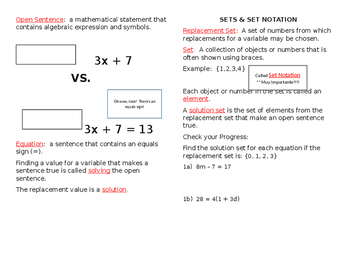 Glencoe Algebra Textbook Lesson 1-5 Equations Guided Notes