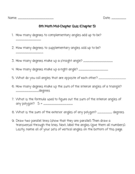 Glencoe Math Course 3 Chapter 5 Mid-Chapter Quiz
