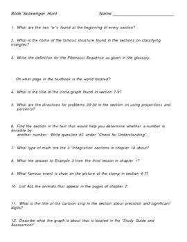 Glencoe Math Course 3 Scavenger Hunt