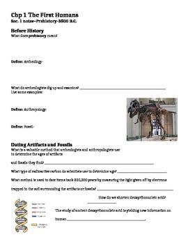 Glencoe - World History - Chapter 1-2 notes w/quiz