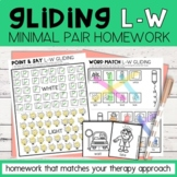 Gliding Minimal Pairs Homework   L-W Words   Speech Therapy