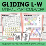 Gliding Minimal Pairs Homework | L-W Words | Speech Therapy