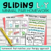 Gliding Minimal Pairs Homework | L-Y Words | Speech Therapy