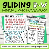 Gliding Minimal Pairs Homework   R-W Words   Speech Therapy
