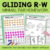 Gliding Minimal Pairs Homework | R-W Words | Speech Therapy