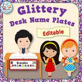 Name Tags EDITABLE Desk Name Plates Glitter