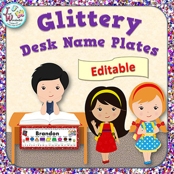 Name Tags EDITABLE Desk Name Plates Glitter