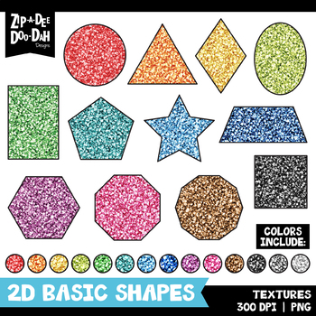 Glitter 2D Basic Shapes Clipart Set {Zip-A-Dee-Doo-Dah Designs}