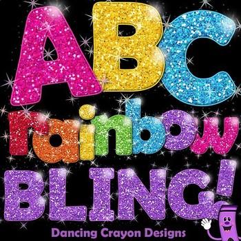 Glitter Alphabet Letters - Clipart: Rainbow BLING