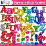 Alphabet Letters Clip Art {Rainbow Glitter Uppercase & Punctuation Marks}