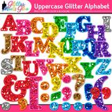 Alphabet Letters Clip Art {Rainbow Glitter Uppercase & Punctuation Marks}
