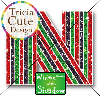 Glitter Alphabet Letters Uppercase Kwanzaa Style – White Outline with Shadow