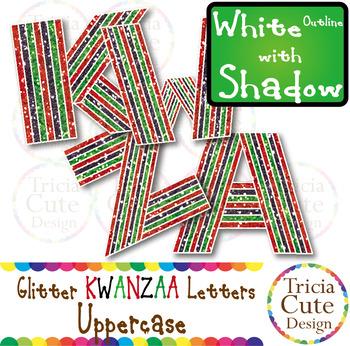 Glitter Alphabet Letters Uppercase Kwanzaa Style – White O