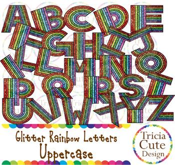 Glitter Alphabet Letters Uppercase Rainbow Letters - Black Outline