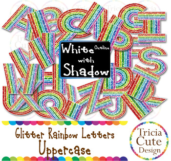 Glitter Alphabet Letters Uppercase Rainbow Letters - White Outline with Shadow