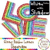Glitter Alphabet Letters Uppercase Rainbow Letters - White