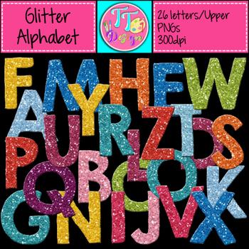 Glitter Alphabet (Upper Case) Clip Art CU OK
