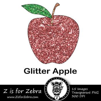 Glitter Apple Clip art - Commercial Use OK { Z is for Zebra}